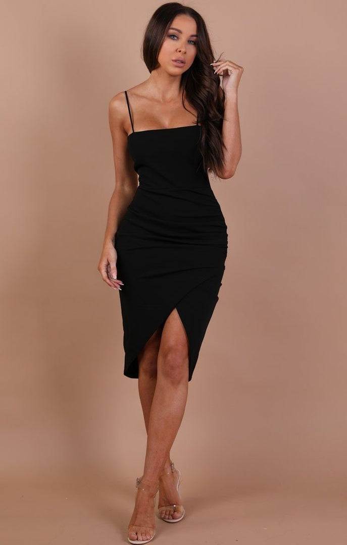 Black-Bodycon-Wrap-Midi-Dress