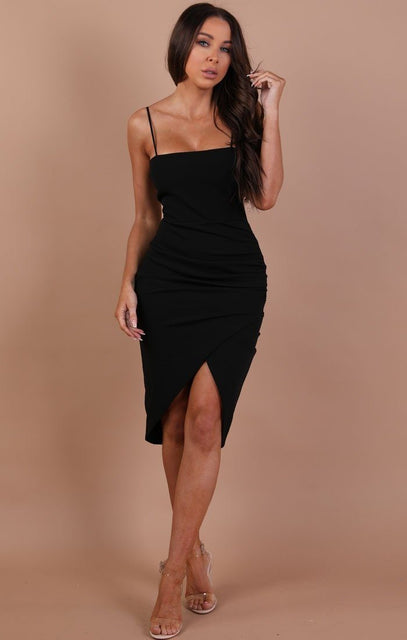 Black Bodycon Wrap Midi Dress – Hayley