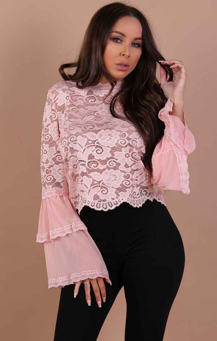 Pink Floral Lace Bell Sleeve Top – Hayden