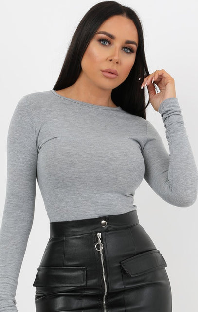 Light Grey Round Neck Long Sleeve Fitted Tee - Daisy