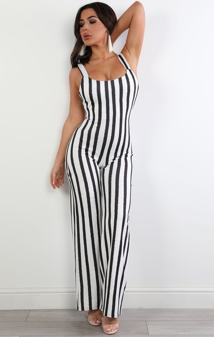 Black And White Stripe Jumpsuit - Connie jumpsuits Femme Luxe 6