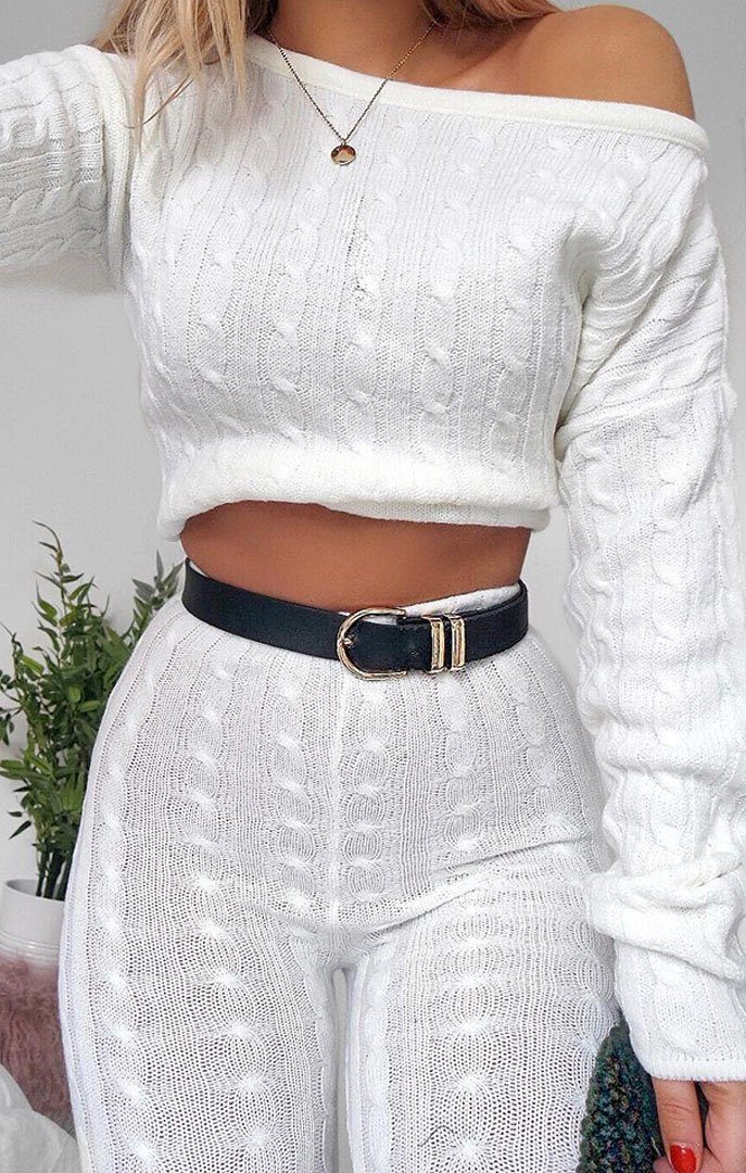 Cream Cable Knit Loungewear Set - Alison loungewear FemmeLuxe