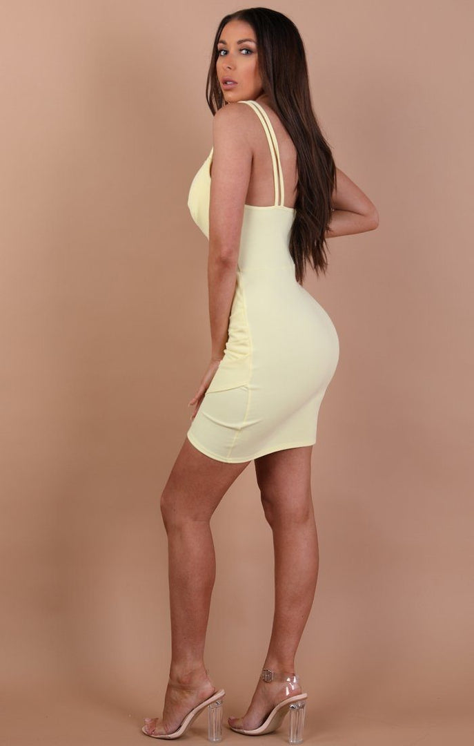 Yellow Double Strap Bodycon Dress – Adrianna