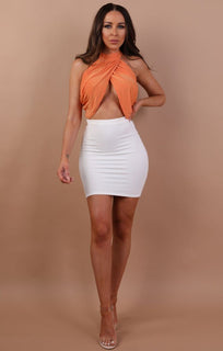 Orange Halter Neck Crop Top - Tabby