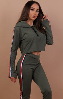 Khaki Cropped Loungewear Set