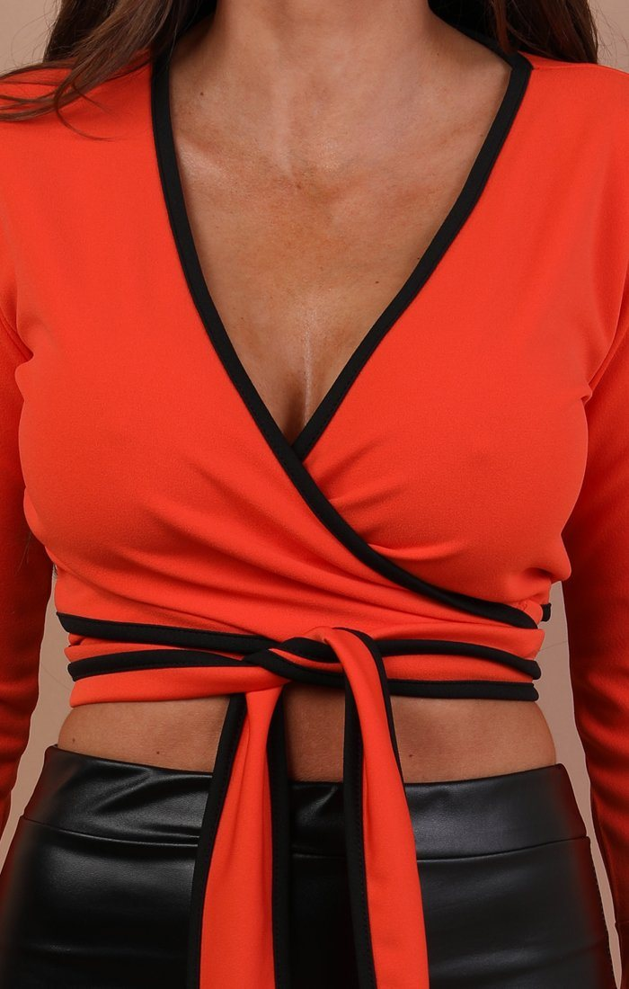 Orange Contrast Trim Front Wrap Crop Top - Vivian