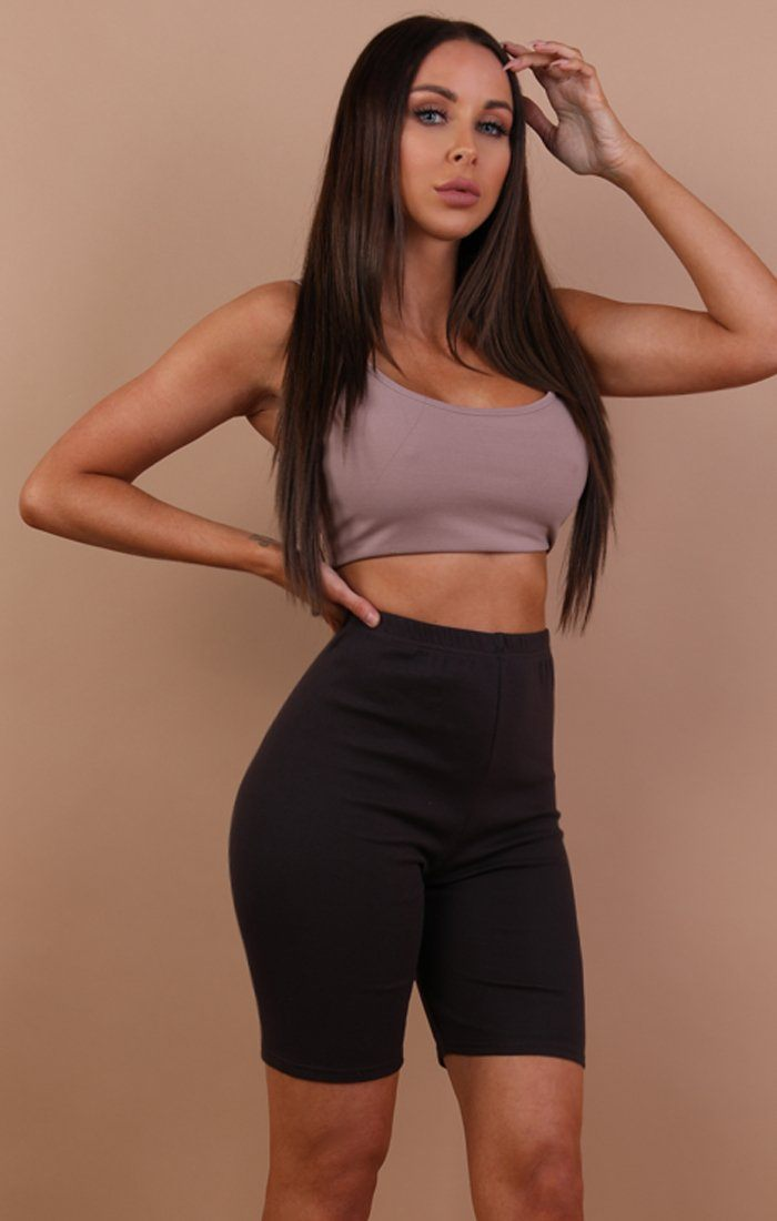 Brown Cropped Basic Leggings - Roxanne