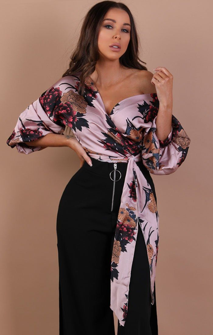 Pink Floral Satin Ruched Sleeves Wrap Top – Kelly