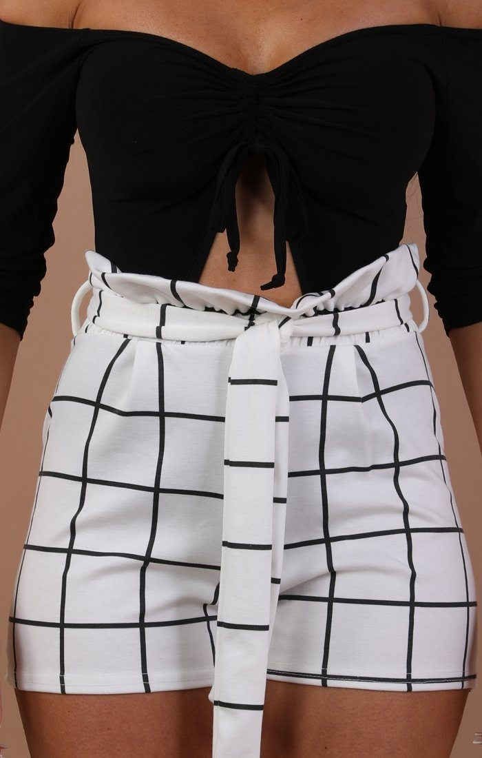 White Check Paper Bag Shorts - Dahlia