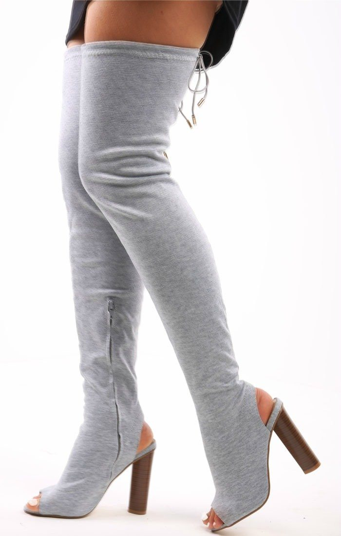 Grey Jersey Peep Toe Over The Knee Boots