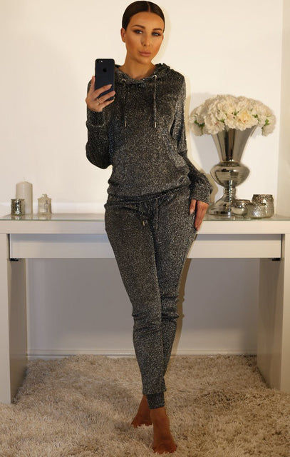 Grey Metallic Tracksuit Set