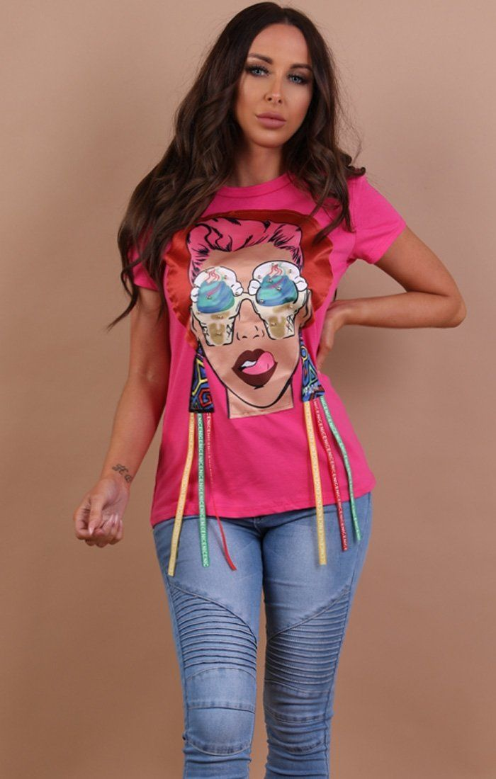 Pink Pop Art Print T-shirt - Aubrey