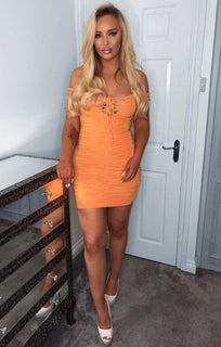 Orange Slinky Ruched Bardot Dress - Carli