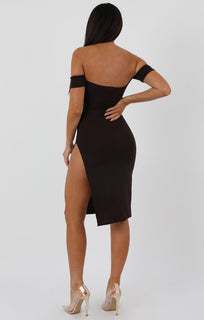 Brown Cuff Detail Split Side Midi Dress - Jennifer