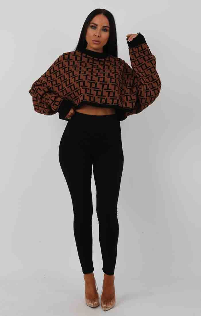Brown Black Patterned Crop Knit Jumper - Faith