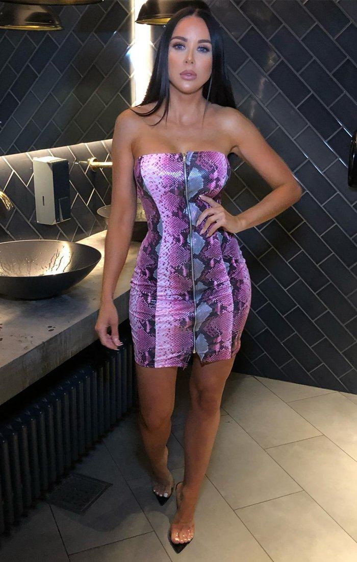 Pink Snake Print PU Mini Dress - Kaylee