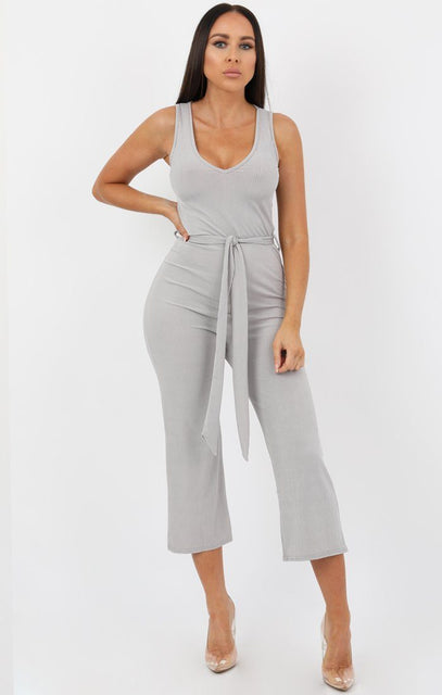 Silver Plunge Tie Ribbed Culotte Jumpsuit - Arabella