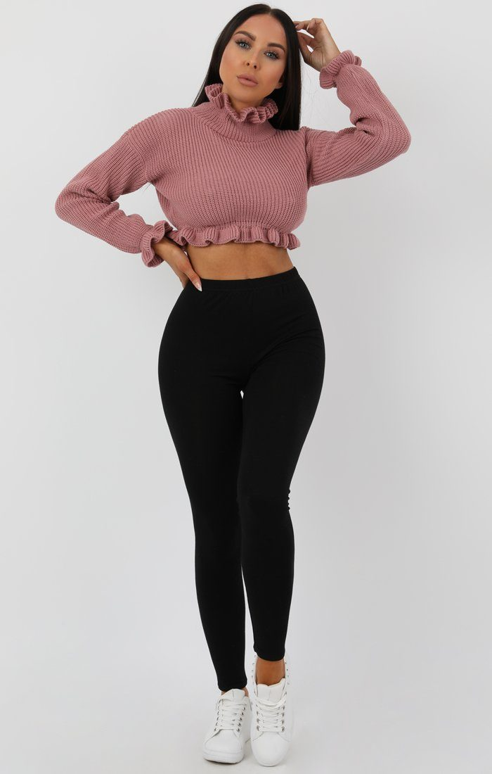 Rose Ruffle Hem Chunky Knit Crop Jumper sale FemmeLuxe