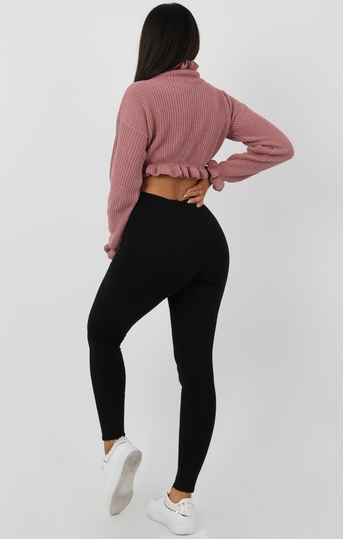 Rose Ruffle Hem Chunky Knit Crop Jumper
