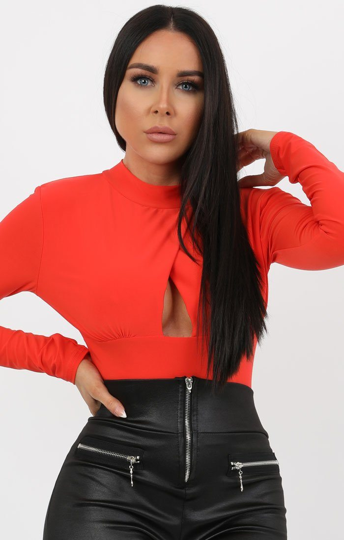 Orange Long Sleeve Cut Out Bodysuit - Kia