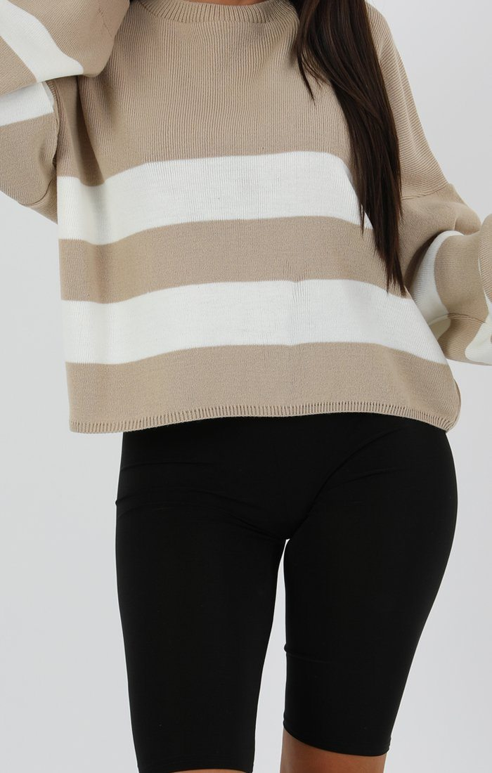 Stone Stripe Oversized Crop Jumper - Faizi
