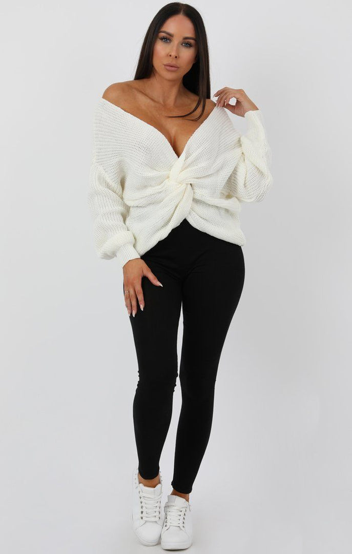 Cream Front Wrap Knitted Jumper