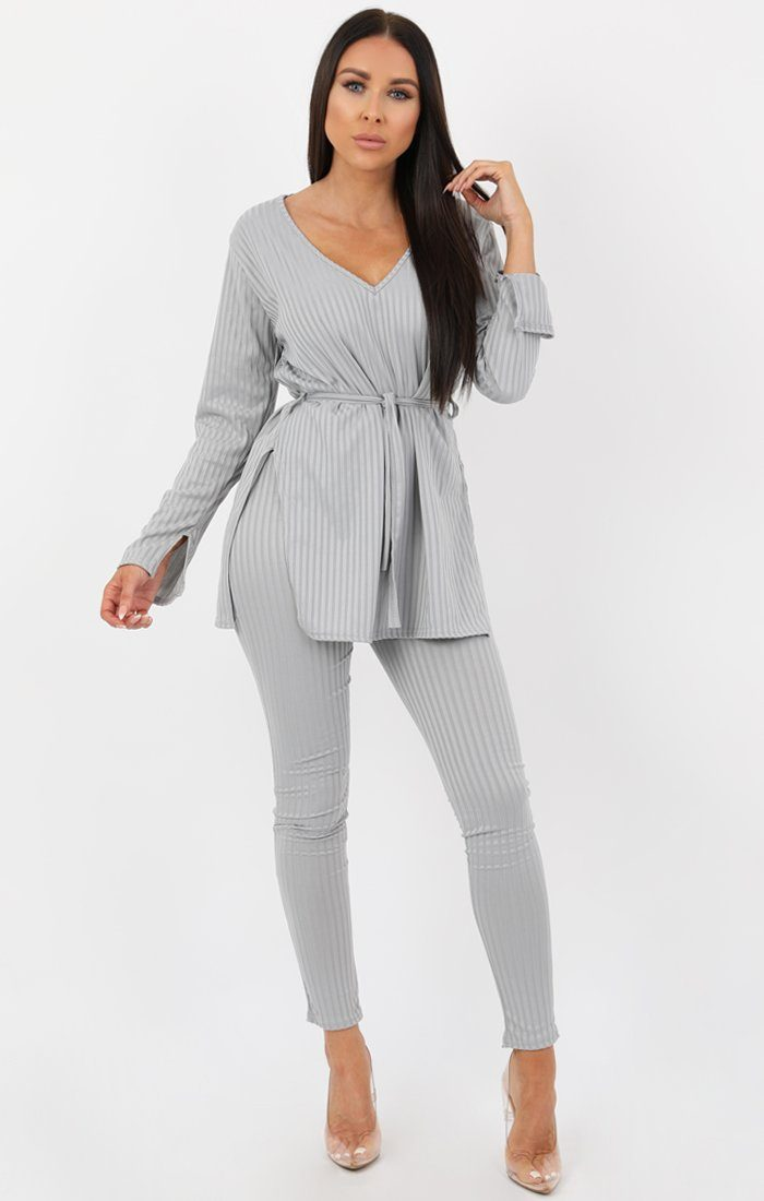 Grey Ribbed belted Loungewear Set -Asia
