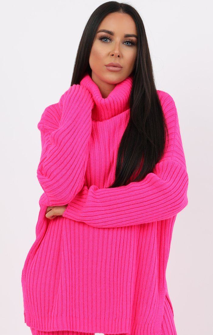 Neon Pink Oversized Turtle Neck Jumper Co-Ord - Aionna