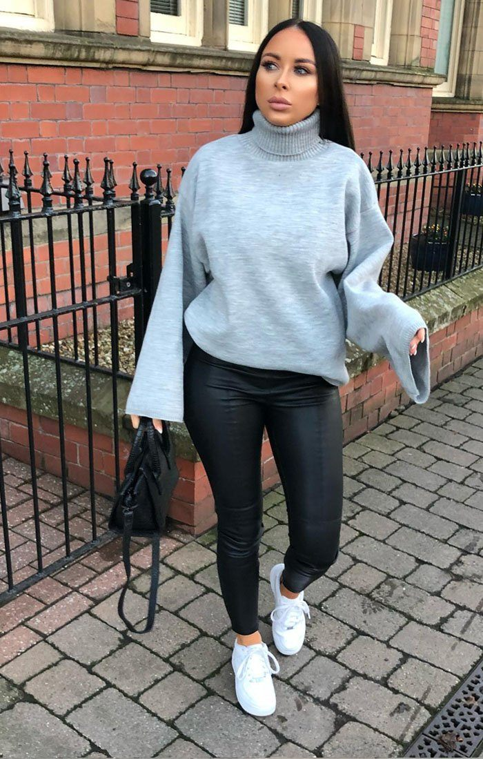 Silver Extreme Polo Neck Oversized Jumper - Amber