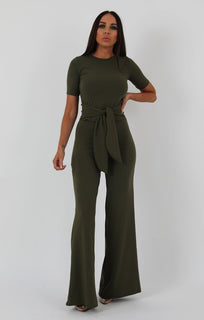 Khaki Ribbed T-shirt Tie Flared Loungewear - Billie