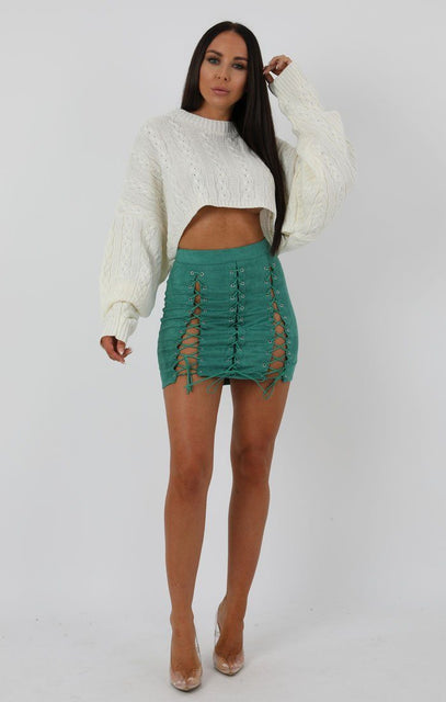 Bottle Green Faux Suede Lace-up Bodycon Skirt - Kayla