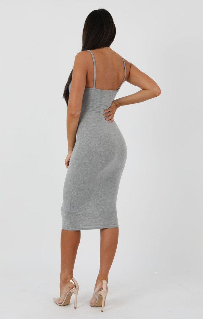 Grey Strappy Bodycon Midi Dress - Poppy