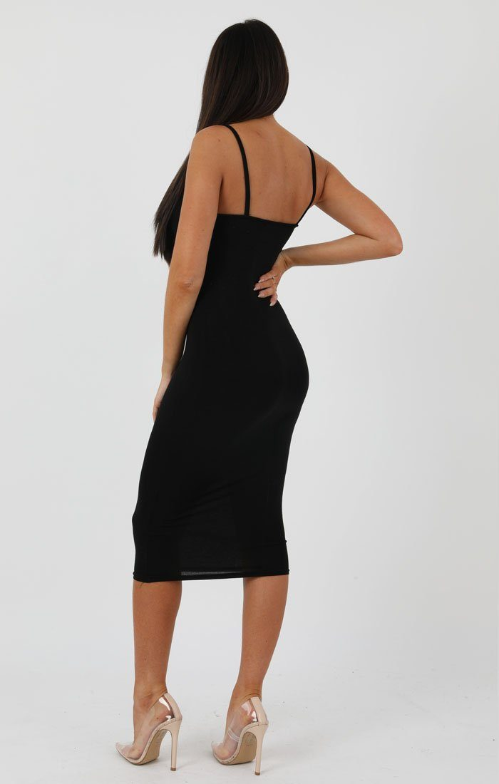 Black Strappy Bodycon Midi Dress - Poppy