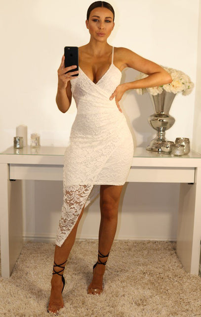 White Lace Cami Wrap Front Mini Dress