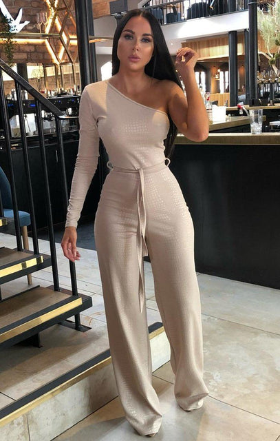 Stone Croc Belted One Shoulder Jumpsuit - Evelyn