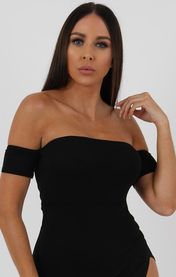 Black Cuff Detail Split Side Midi Dress - Jennifer