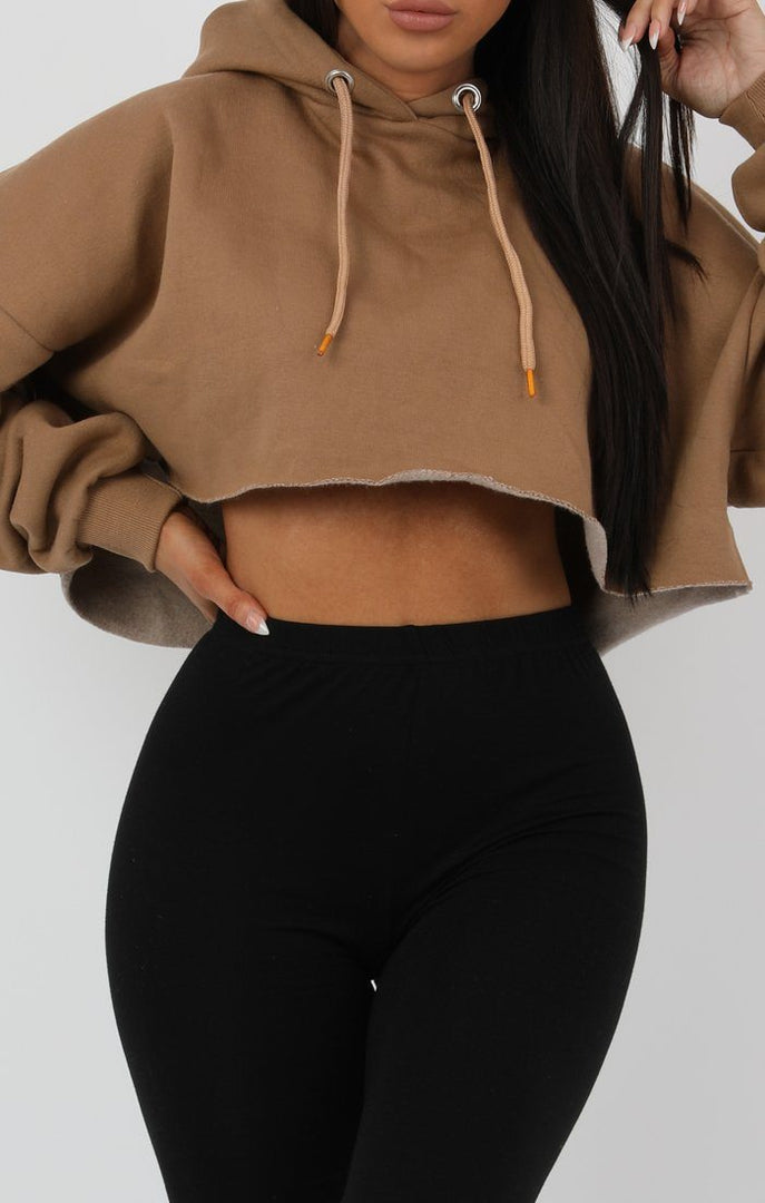Camel Hooded Crop Sweater Jumper - Gia