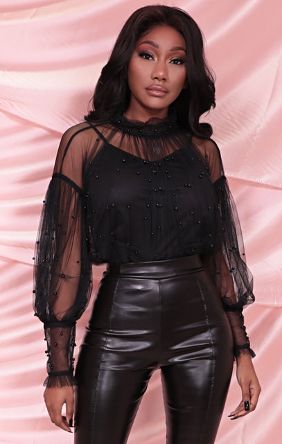Black Mesh Fishnet Pearl Detail Long Sleeve Frill Blouse - Kenna