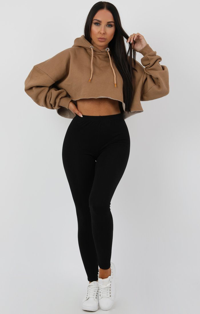 Camel Hooded Crop Sweater Jumper - Gia Jumpers FemmeLuxe