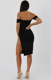 Black-Cuff-Detail-Split-Side-Midi-Dress-Jennifer