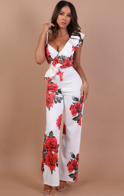 White Floral Frill Jumpsuit - Libby
