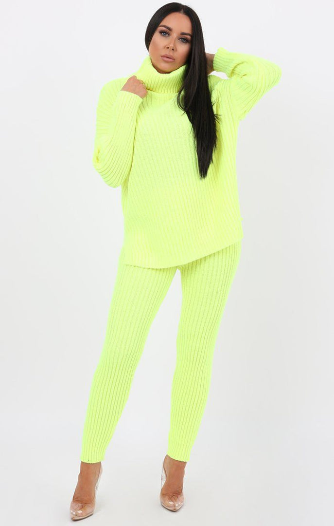 Neon Yellow Oversized Turtle Neck Jumper Co-Ord - Aionna