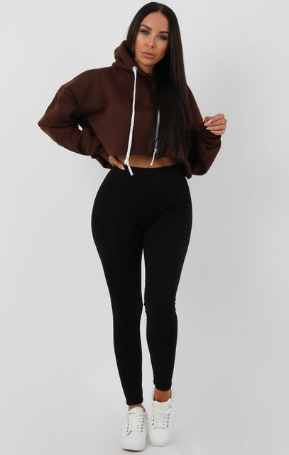 Brown Hooded Crop Sweater Jumper - Gia