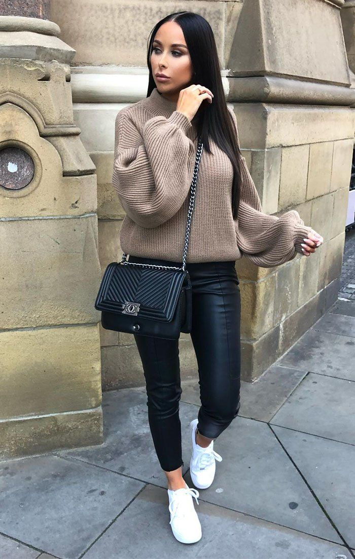 Mocha Oversized Bloom Sleeve Knitted Jumper - Roisin