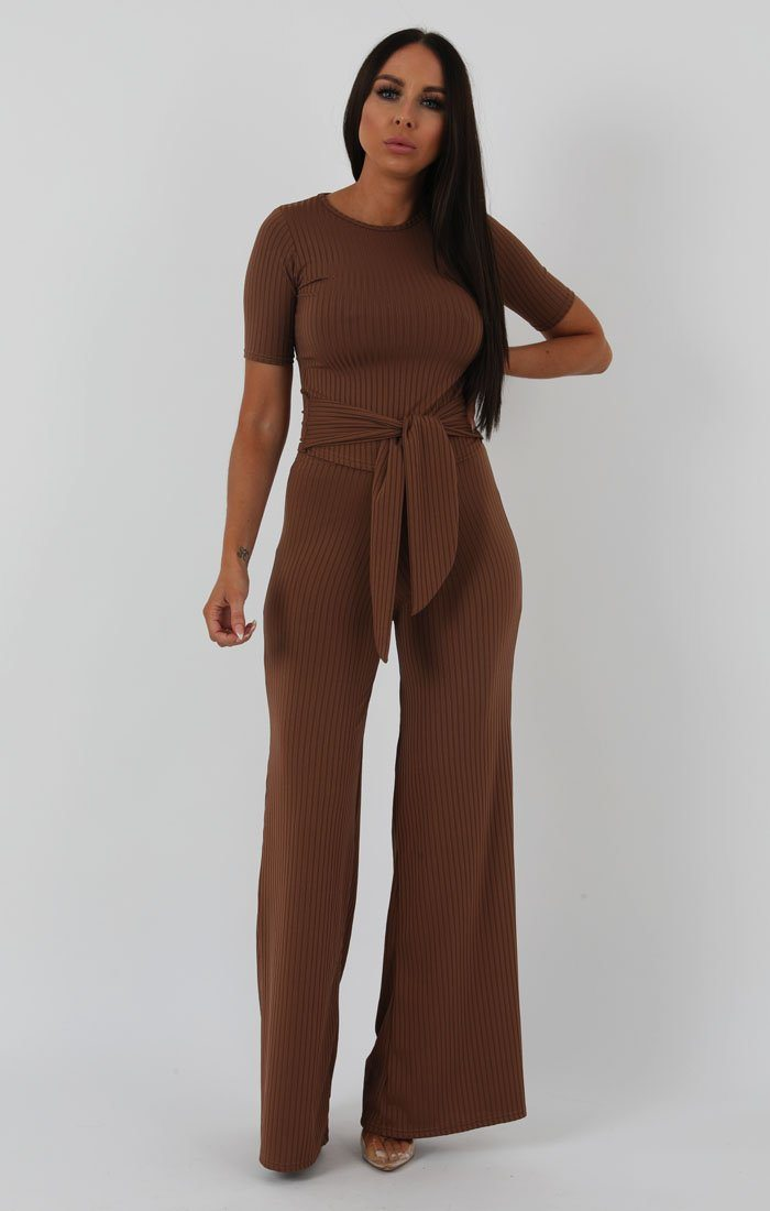 Camel-Ribbed-T-shirt-Tie-Flared-Jumpsuit-Billie