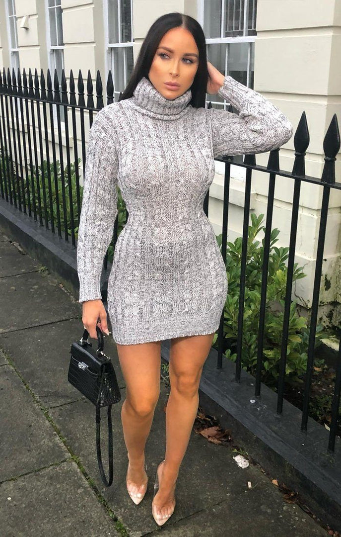 Grey Knit Turtle Neck Bodycon Mini Dress - Saskie