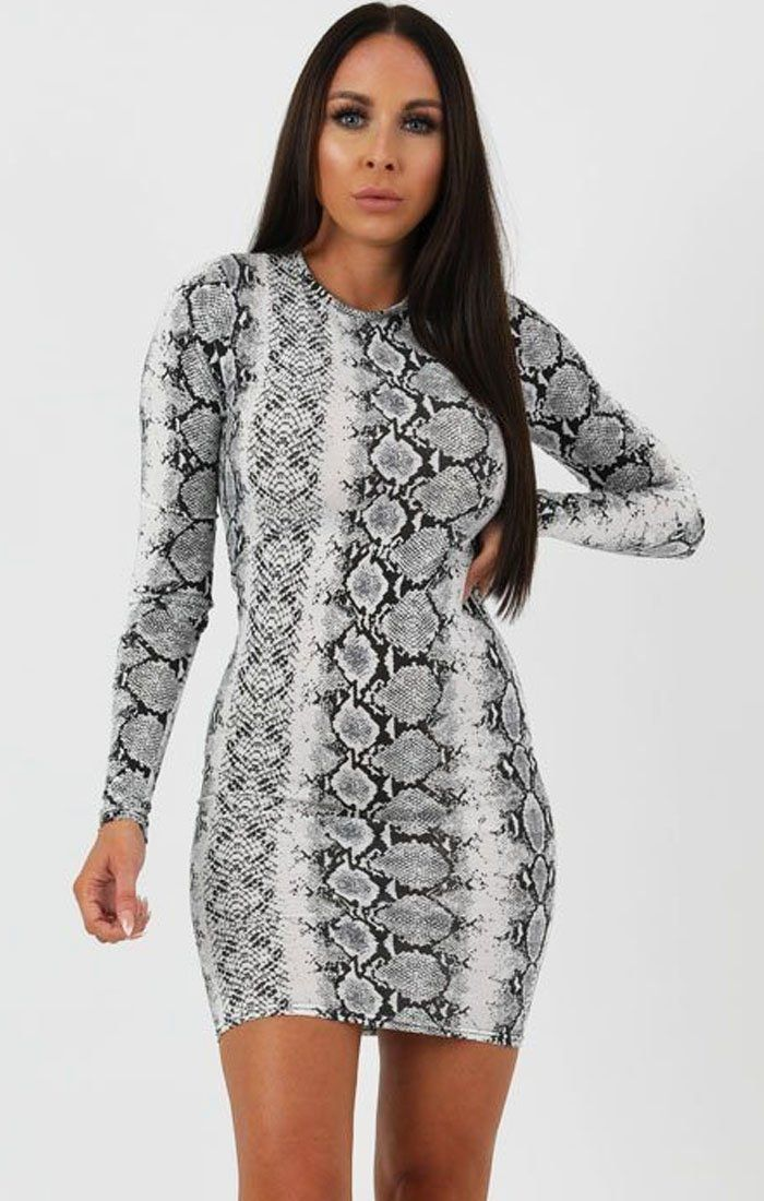 Animal Snake Print Long Sleeve Bodycon Dress - Michelle