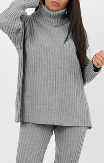 Grey Oversized Turtle Neck Jumper Co-Ord - Aionna