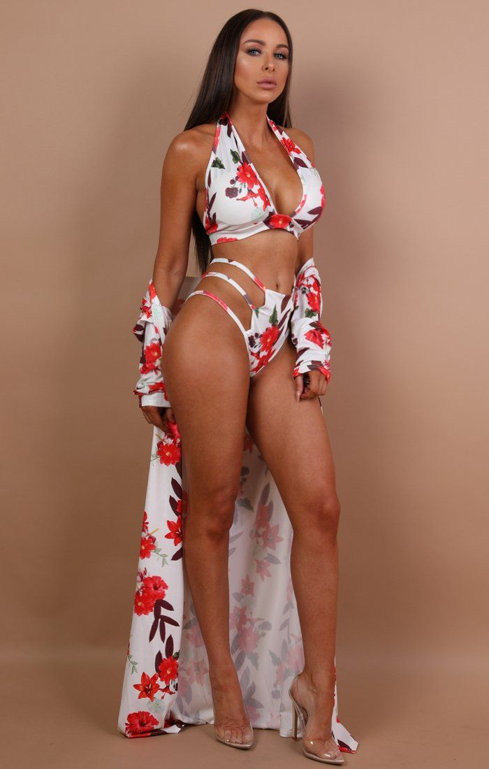 White Floral Three Piece Swimwear Set - Lou