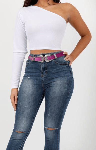 Purple Double Buckle Velvet Belt - Vicky